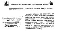 21/03/2020 - DECRETO MUNICIPAL N° 035/2020.