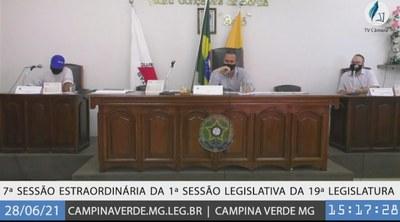 7ª SESSÃO EXTRAORDINÁRIA DA 1ª SESSÃO LEGISLATIVA DA 19ª LEGISLATURA