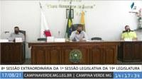 8ª SESSÃO EXTRAORDINÁRIA DA 1ª SESSÃO LEGISLATIVA DA 19ª LEGISLATURA