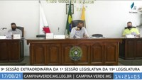 9ª e 10ª SESSÃO EXTRAORDINÁRIA DA 1ª SESSÃO LEGISLATIVA DA 19ª LEGISLATURA