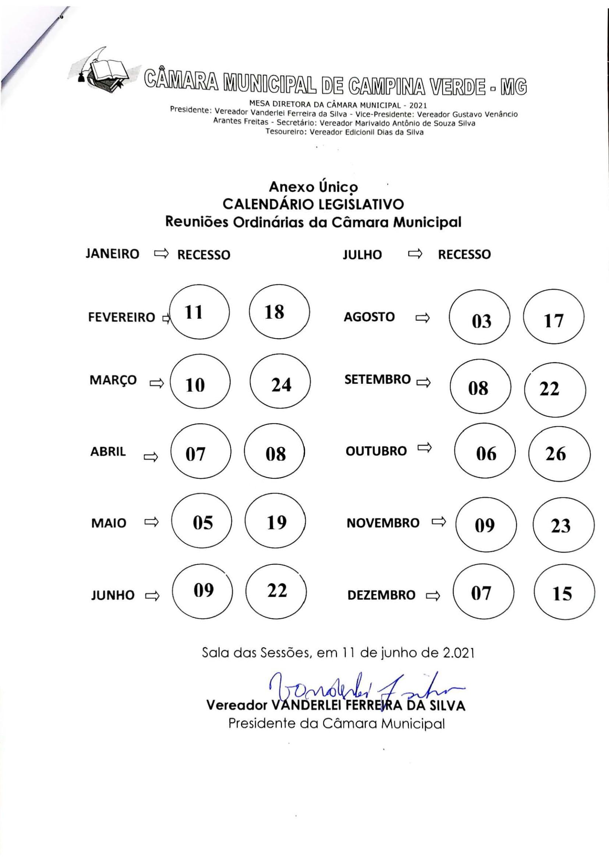 Calendário Legislativo 2021