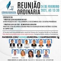 Convite Reunião Ordinária - 24 de Fevereiro 2021 as 13:30
